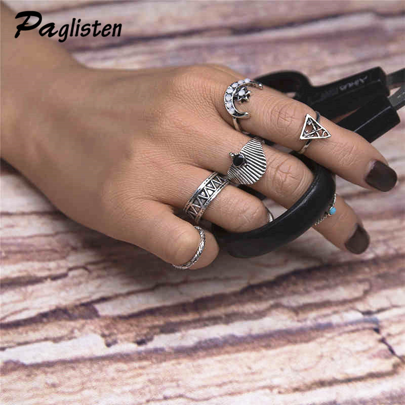 7pcs / sets Fashion Vintage Punk Midi Star Moon Rings Set Antique Silver Color Boho Style Female Charms Jewelry Ring For Women