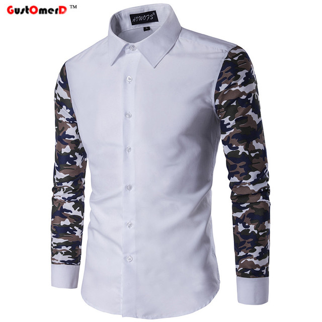 728cd898e5f25 GustOmerD New Fashion Brand Casual Men Shirt Long Camouflage Sleeve  Mandarin Collar Slim Fit Mens Dress