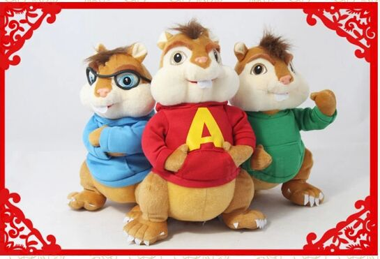 product 3 pieces a set Movie & TV The Alvin and the Chipmunks baby Toy cute Alvin Simon Theodore doll about 25cm