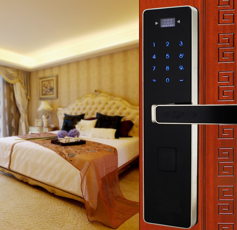 digital touchscreen code door lock entrance anti theft door lock Smart locks Password + Key+card  NSD-TL-OS008C