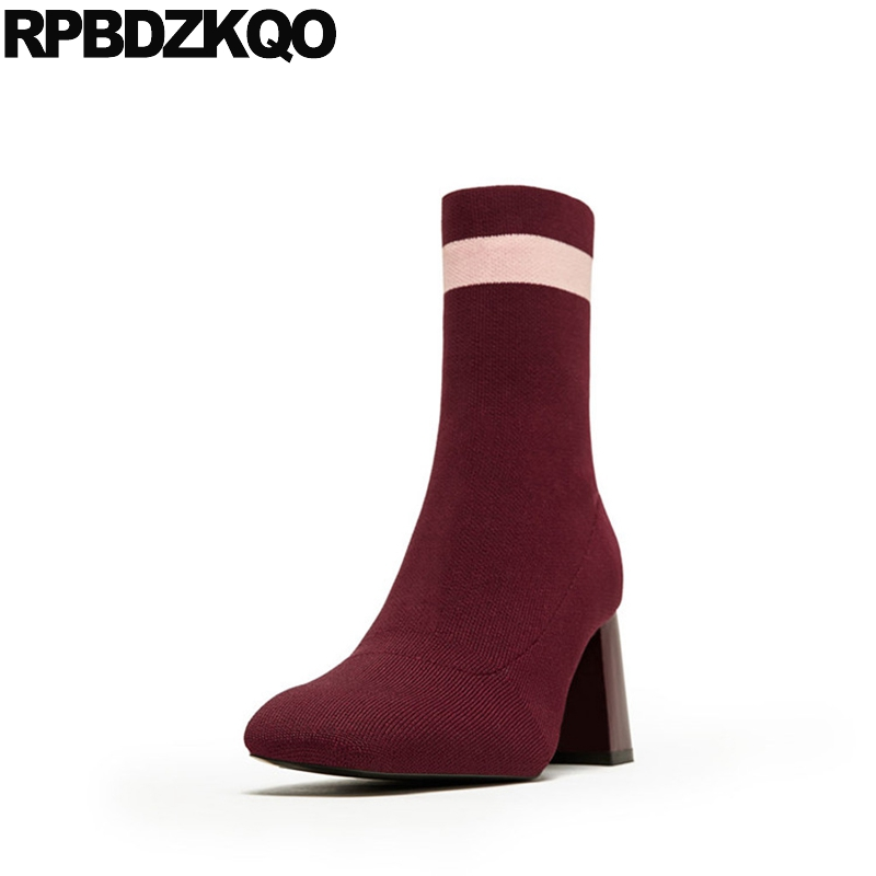 Wine Red 9 Square Toe Ankle Fall Slim Stretch Designer Shoes Women Luxury 2017 Big Size Knit Sock Slip On Boots Chunky High Heel