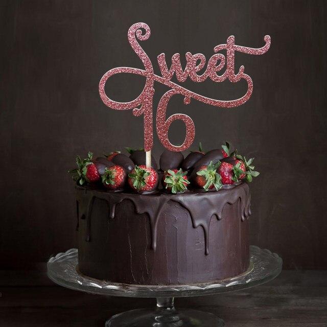 online shop gold silver black glitter sweet 16 cake topper girl s