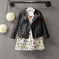 DFXD 2017 Fashion Spring Baby Girls&Boys Leather Jacket Korean Children Clothes Baby Black Zipper Cardigan Coat Kids Outwear