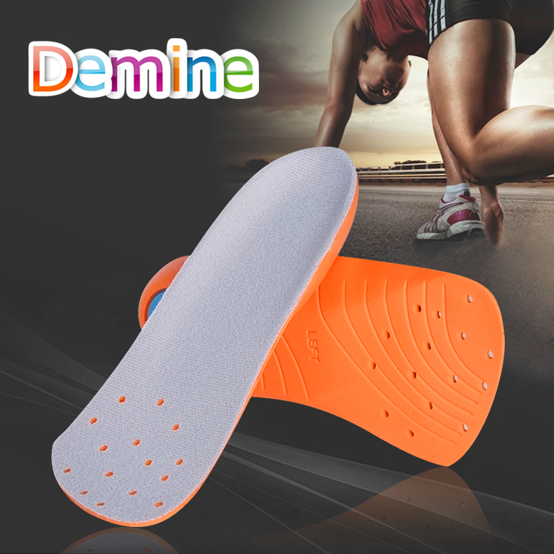 Demine 3/4 Length Shock Absorption Sport Shoe Insert pad Breathable Anti-slip Arch Support Insole Comfort Heel Pad for Men Women
