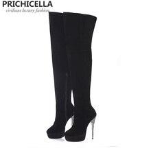 Prichicella черная замша блеск каблук-шпилька платформе облегающие сапоги натуральная кожа ботинки с высоким голенищем size34-42