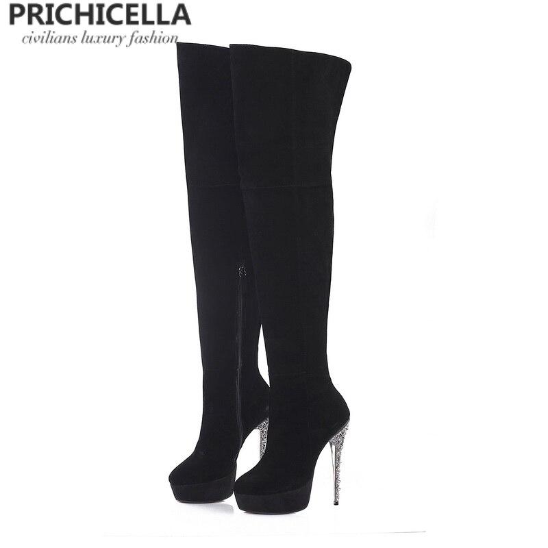Ayakk.'ten Diz Üstü Çizmeler'de PRICHICELLA siyah süet glitter stiletto topuk platformu uyluk yüksek çizmeler hakiki deri uzun çizmeler size34 42'da  Grup 1