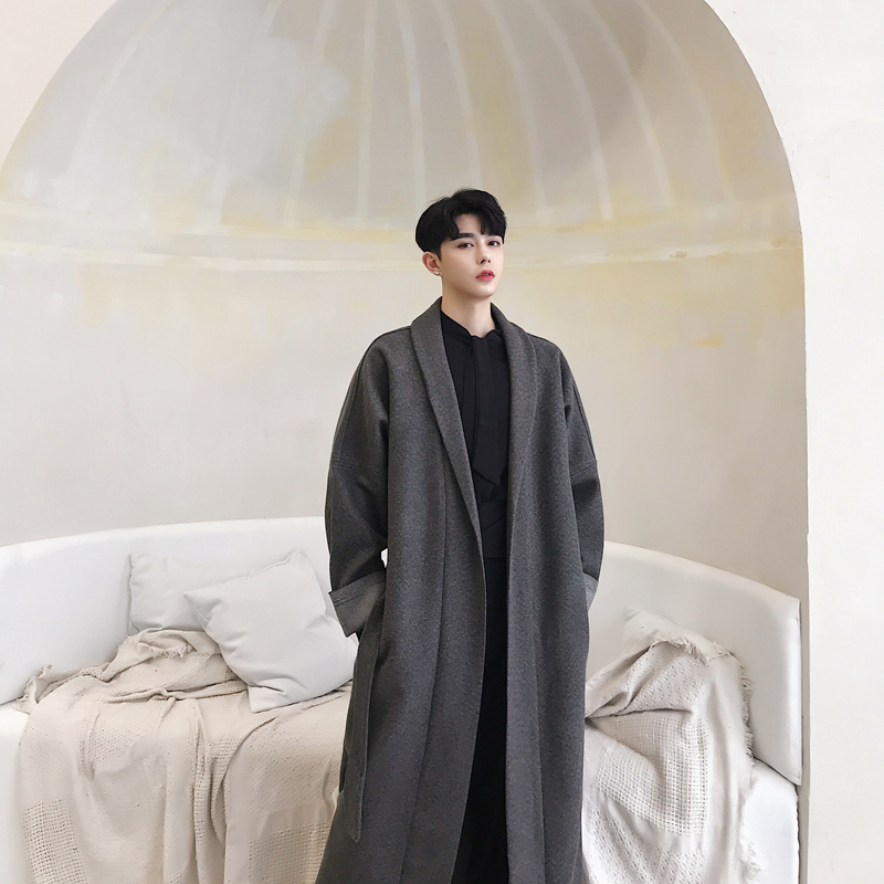 Men Grey Pink Autumn Winter Long Wool Trench Coat Male Loose Casual Outerwear Robe Overcoat Cardigan Jacket Stage Clothes