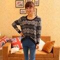 Das mulheres de Malha Manga Comprida Casual Malhas Jumper Camisola do Revestimento do Revestimento