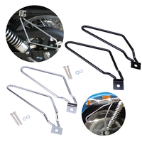 Black Chrome Motorcycle Accessories Saddle Bag Support Bars Mount Bracket Guard Motocross For Harley Sportster XL Dyna Fat bob