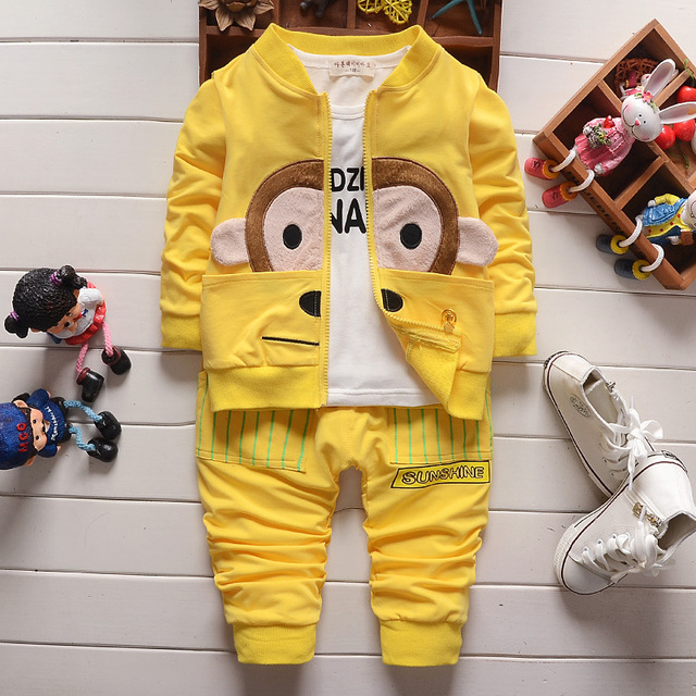 Spring Fashion Style Warm Minion Baby Clothing Sets For Boys and girls, 3pcs Newborn Kids Suits, Minion Baby Boys Clothes 1031#