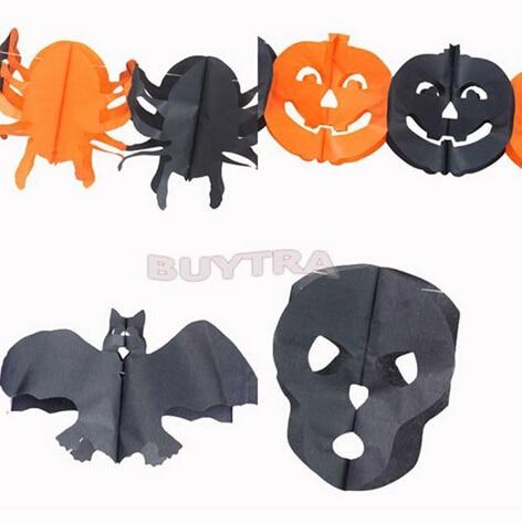aliexpresscom buy 5 styles paper chain garland decorations pumpkin bat ghost spider skull shape halloween decor garland boost the atmosphere from - Halloween Paper Decorations