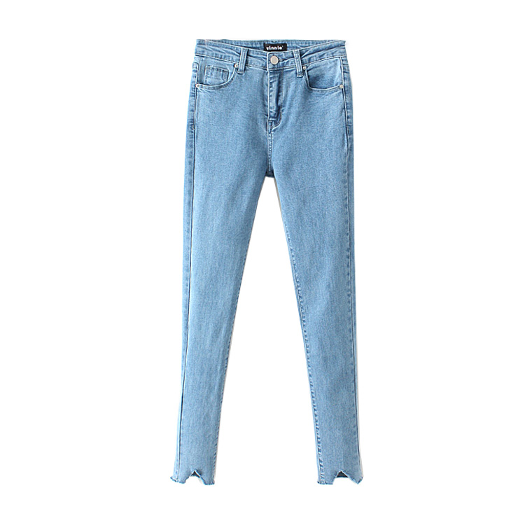 In the spring of 2017 new women's fashion all-match trousers cut wash old Stretch Jeans Pants 2017 new fashion spring