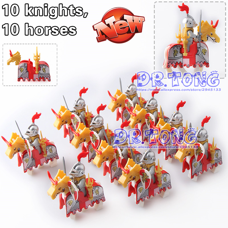 DR TONG 20pcs/lot Blue Lion Knights with War Horse Super Heroes Medieval Rome Knights Building Blocks Bricks Toys Children Gifts 60pcs lot 108 111 ghostbusters super heroes figures with weapons building blocks bricks toys for children birthday gifts