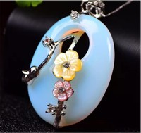 Pendant Opal Mosaic With 925 Silver Chain