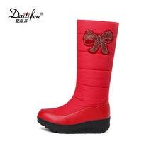 Fanyuan/женские зимние сапоги до колена; повседневные зимние сапоги на пуху; популярные слипоны с круглым носком; женская обувь высокого качества