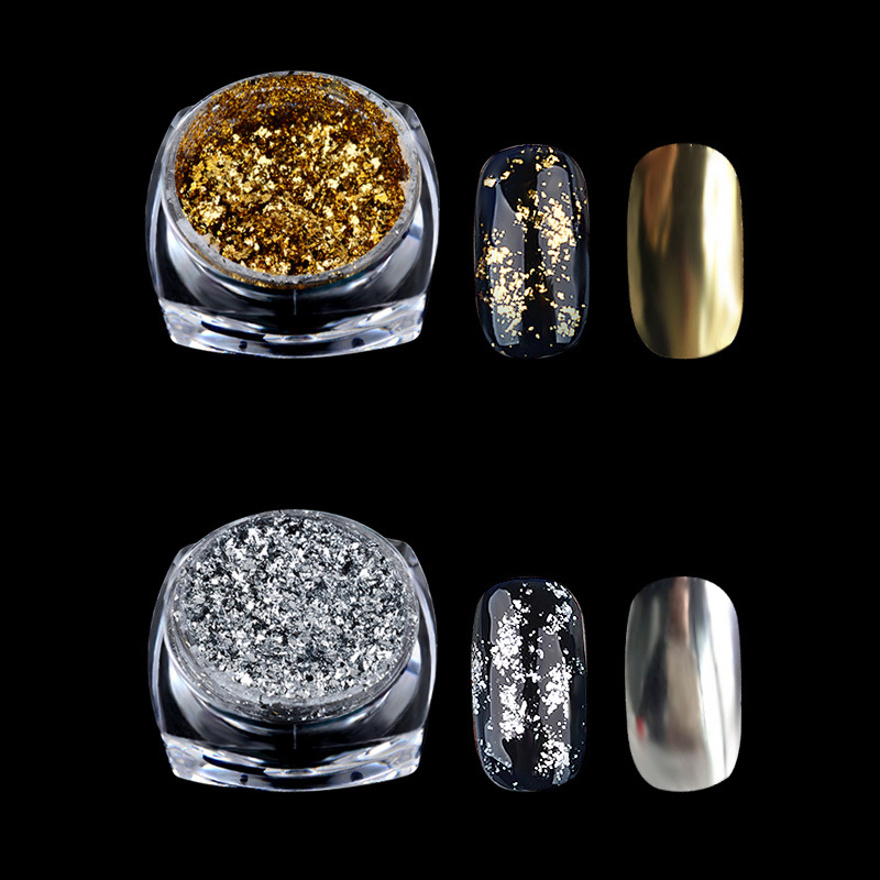 Schönheit & Gesundheit Nails Art & Werkzeuge Pflichtbewusst Gold Silber Nagel Glitter Aluminium Flakes Magie Spiegel Wirkung Pulver Pailletten Nagel Gel Polnischen Chrome Pigment Dekorationen Reich Und PräChtig