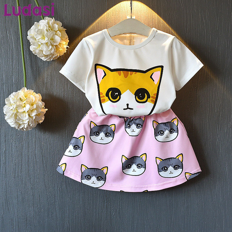 Baby Girl Dress Set Childrens Clothing Casual Suits Summer 2018 Cartoon Cat Top White T-Shirt+Skirts child Clothes kids Cute