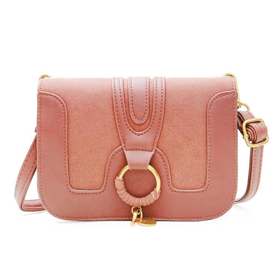 Для женщин Мода Искусственная кожа шить сумка через плечо сумка женская сплошной цвет кольцо застежкой небольшой площади сумка # F