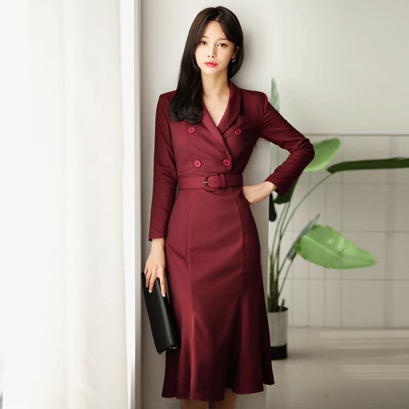 OL Style Wine Red Women Dress Elegant Double Breasted Sashes Female Vestidos 2018 V neck Mid length Wear to Business Dress