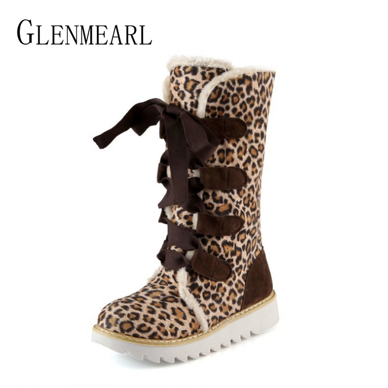 Winter Shoes Woman Snow Boots Mid-Calf Leopard Platform Plush Warm Shoes Casual Slip On Round Toes Lace Up High Boots Female 2017 spring phoenix denim women embroidered lace up cloth mid calf boot platform winter shoes casual canvas femal classic soft