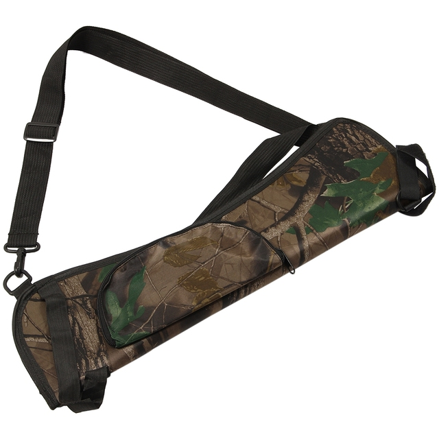Portable Archery Quiver Arrow Holder Bow Back Side Waist Hanging Buckle Zip Pocket 58*17 cm