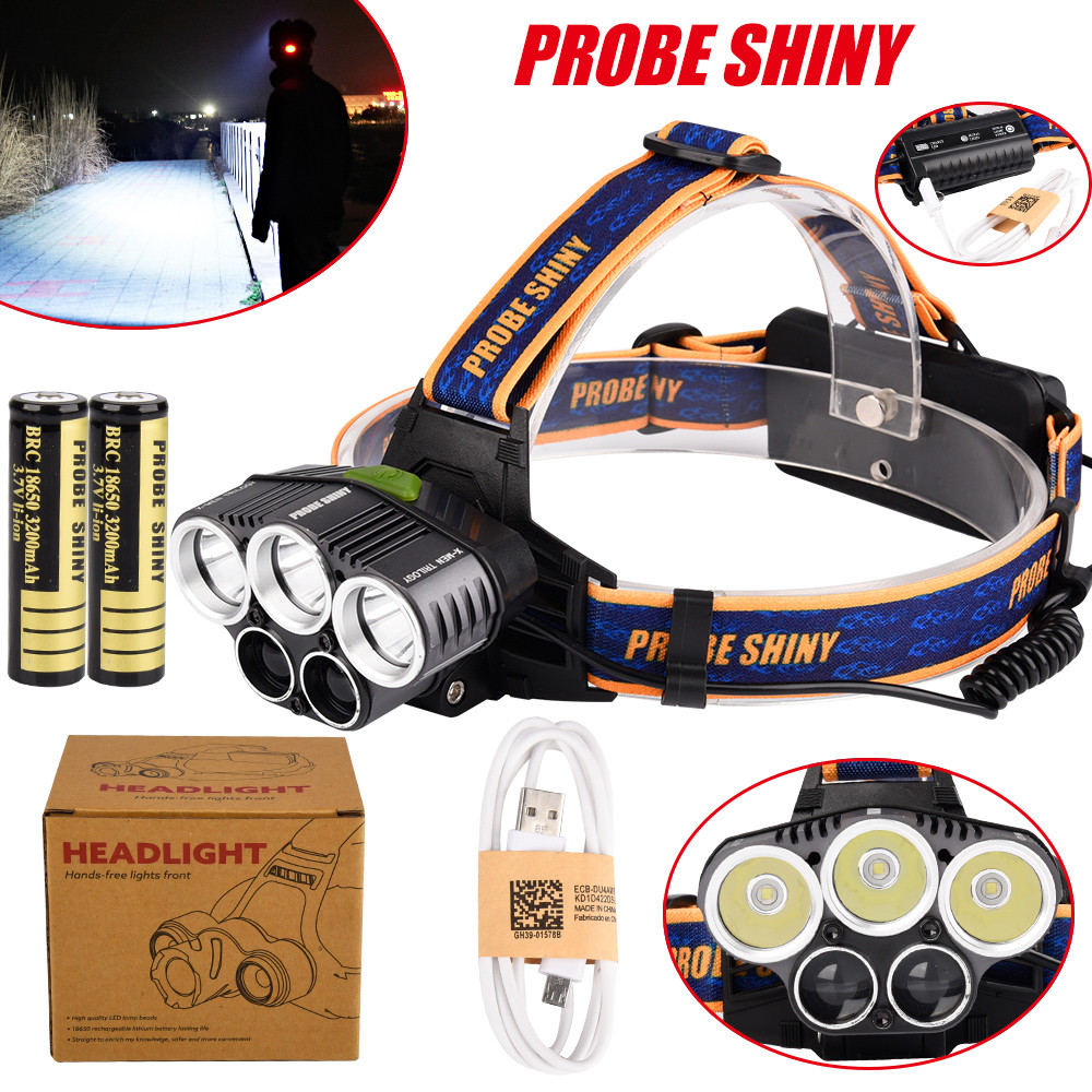 25000LM 5x XM-L T6 Headlamp Headlight Head Light LED Rechargeable USB+Battery