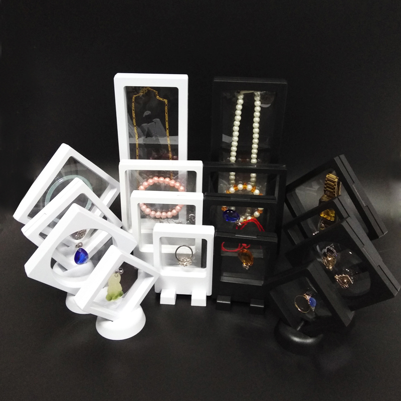 8Pcs PET Mebrane Jewelry Display Stand Ring Bracelet Necklace Earring Organizer Clear Accessories Jewelry Watch Holder Box
