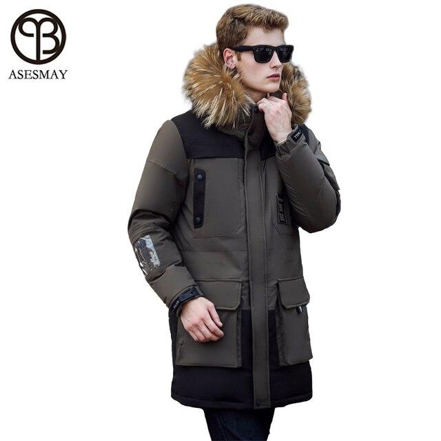 Asesmay 2016 Вниз Пальто Куртки Бренд Одежды с натурального меха капюшоном зиму parka мужчины утка вниз wellensteyn snow теплый пальто