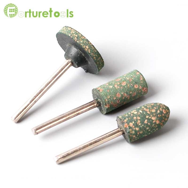 100 vnt guminis antgalis, dremelio priedas, skirtas metaliniam plieniniam šlifavimo šlifui. Blauzdos skersmuo 3mm galvutė 8 ~ 21mm MT042