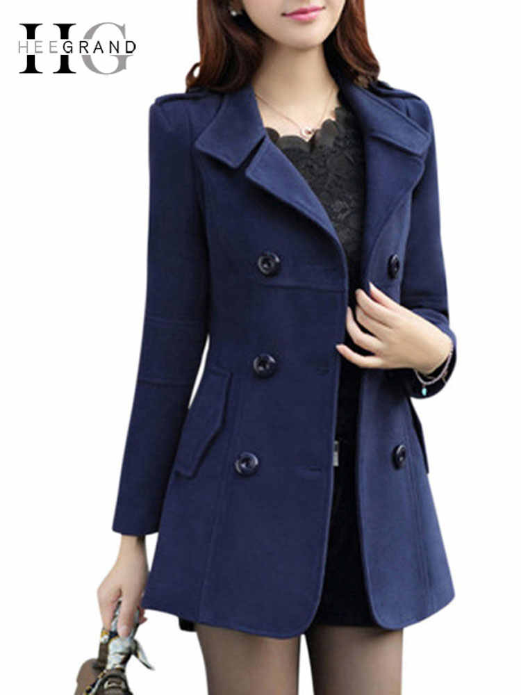 HEE GRAND Vrouwen Lente OL Geul 2019 Plus Size M-3XL Vrouwen Jas Dames Pea Coat Slim Double Breasted Blended Jassen WWN717