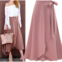 Lotus leaf skirt, high waist tie, split irregular long skirt Chiffon