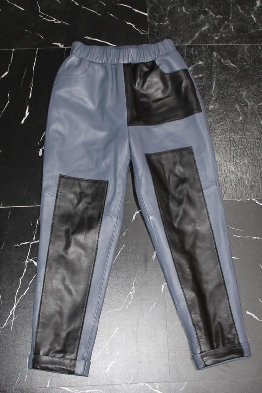 M XL taille élastique véritable mouton en cuir moto pantalon femme marque de mode hit couleur en cuir véritable pantalon wq852 livraison directe - 3