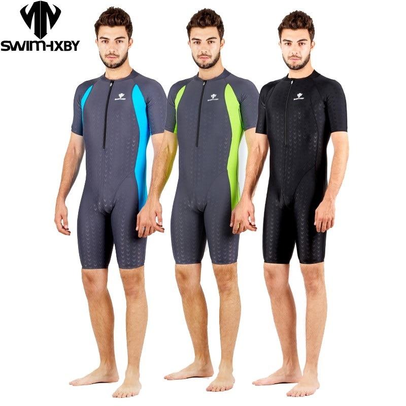 HXBY  Short Sleeve Swimwear Mens one piece swimwear  women Swimming bodysuit men's Swimming bathing suit