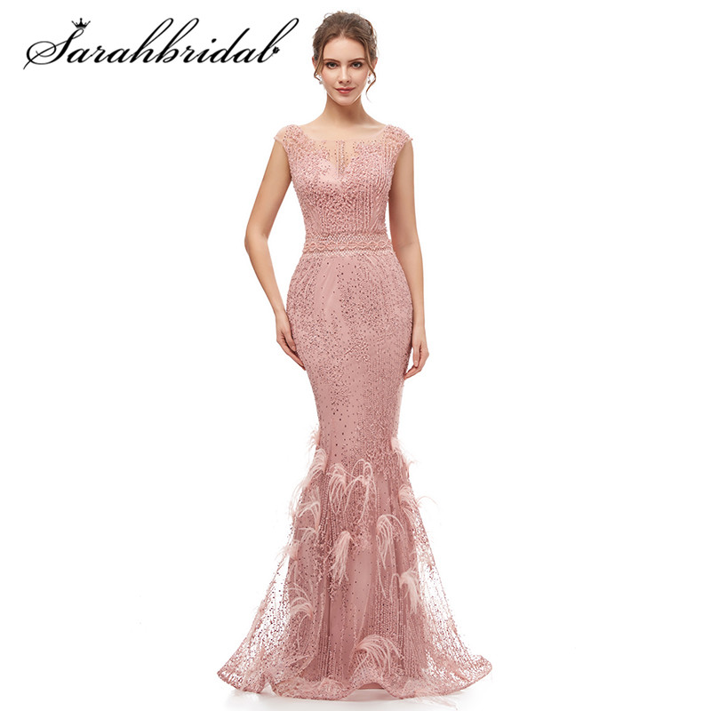 Elegant Evening Ceremony Party Dress 2019 Formal Long Dresses Feather Mermaid Beaded Serene Hill Prom Gown For Women CC5343