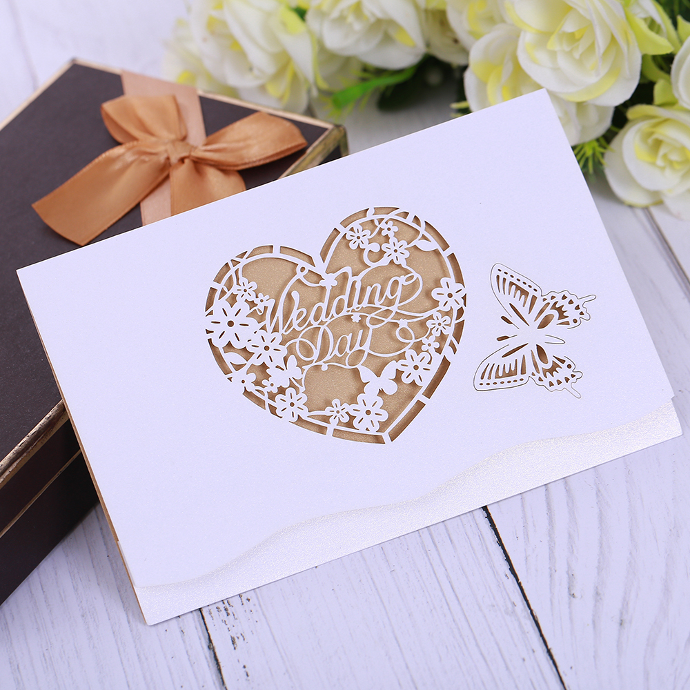 Segnaposto Matrimonio Aliexpress.1piece Butterfly Pattern Cards Invitations Wedding Days Greeting