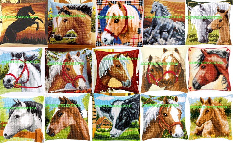 1th Horse style JCS Crafts Cushion Printed Cross Stitch Kits Tapestry pillow KIT Home Decorative Pillows Needlework cushion
