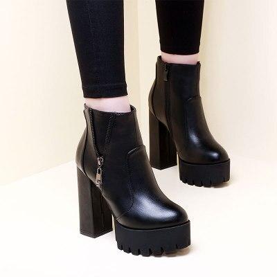 2018 женские ботинки на высоком каблуке кожа молния не сужающийся к низу каблук черный женские ботильоны пикантные женские Ботинки