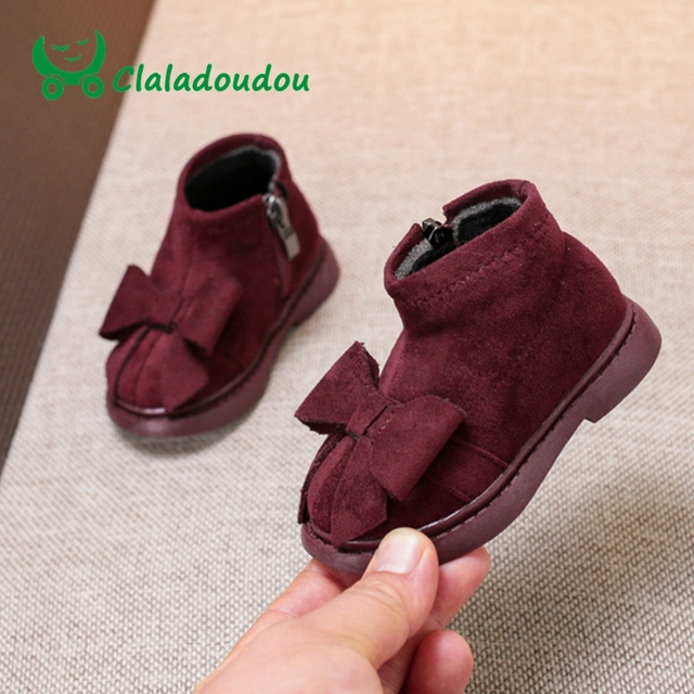 Claladoudou 12-14CM Flock Girls Black Leather Boots Winter Toddler Girl Shoes Khaki Infant Walking Shoes Baby Boots For Girls