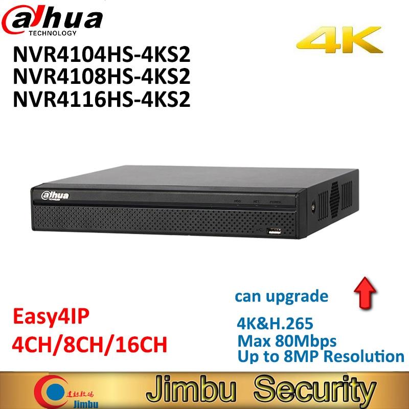 Dahua 4K P2P NVR Video Recorder NVR4104HS-4KS2 NVR4108HS-4KS2 NVR4116HS-4KS2 4CH 8CH 16CH H.265/H.264 Up to 8MP resolution dahua nvr 4k 16ch nvr4116hs 4ks2 network video recorder 1u lite network h 265 h 264 up to 8mp hdmi vga simultaneous output