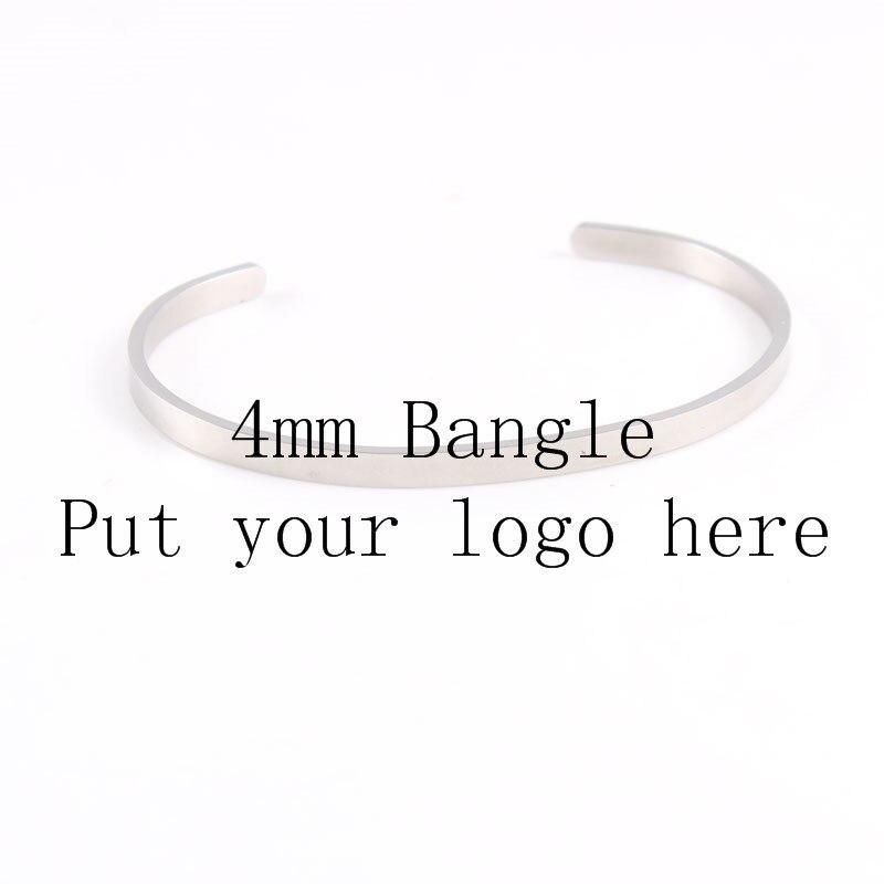 100 pièces Bracelet en argent personnalisé bijoux gravure en acier inoxydable 4mm positif inspirant ID Bracelet manchette Bracelet pour hommes