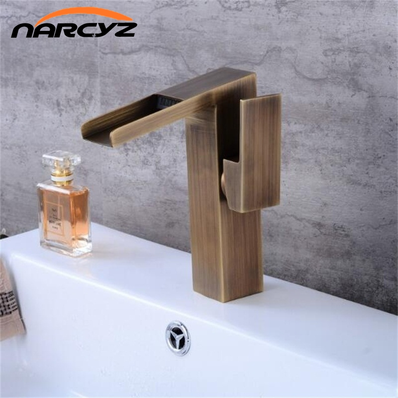 Bathroom brass Antique retro faucet waterfall basin faucet  tall square faucets deck mounted waterfall water black tap XT948