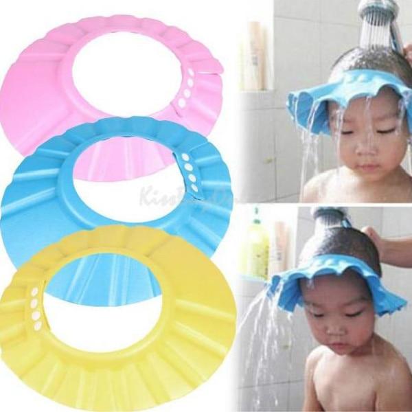 amarillo Isuper suave seguro beb/é ni/ños champ/ú protector de ba/ño gorro de ducha sombrero lavado pelo protector