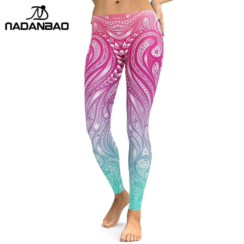 NADANBAO New Design 2019 Leggings Women Mandala Flower Digital Print Legging Fitness Leggins Elastic Workout Plus Size Pants