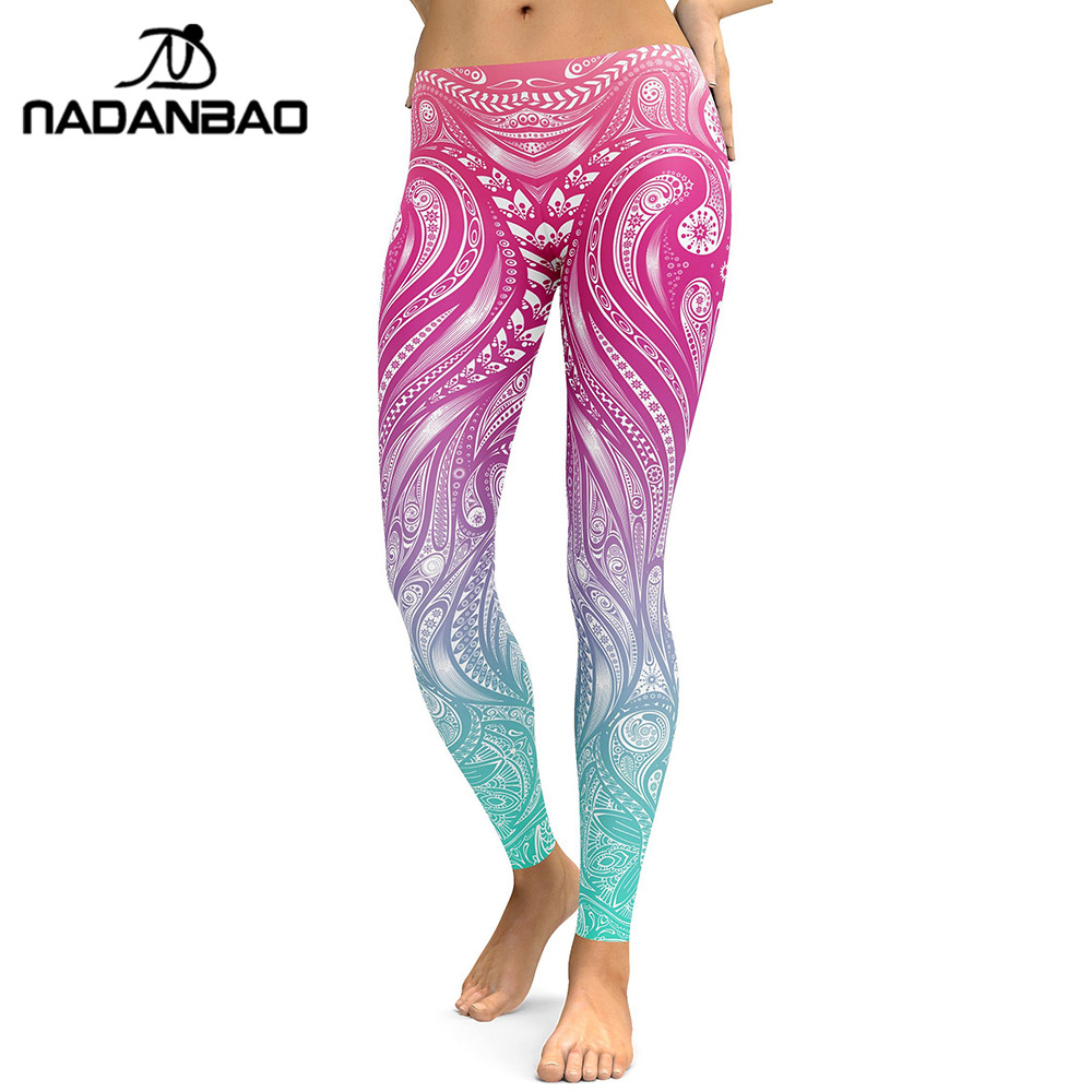 NADANBAO New Design 2019   Leggings   Women Mandala Flower Digital Print   Legging   Fitness Leggins Elastic Workout Plus Size Pants