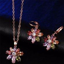 Женский комплект украшений из роз и сережек