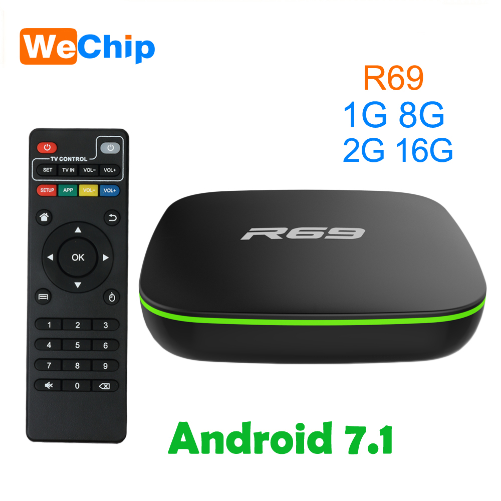 10pcs/lot R69 Smart Android 7 1 TV Box 2GB 16GB Allwinner H3 Quad-Core 2 4G  Wifi Set Top Box 1080P HD Media player Ott Smart Box