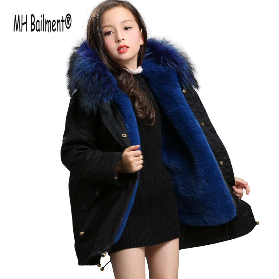 2017 Children Army Coat Faux Rabbit Fur Clothing Winter Long Parkas Hooded Coat Kids Warm Thick Outerwear Black Jacket FC#1 girl duck down jacket winter children coat hooded parkas thick warm windproof clothes kids clothing long model outerwear