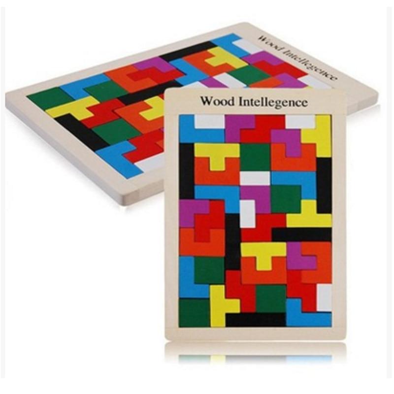 Fából készült Tangram Brain Tetris Játék Bloacks Asztali játék Fa Intelligens Buidling Blokkok Gyermek Oktatási Játékok Játssz veszélytelen