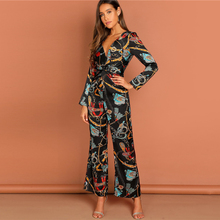 цена на Explosion Fashion Chain Print Waist Knot Deep V Neck Shirt Jumpsuit Women 2019 Spring Elegant Workwear Wrap Wide Leg Jumpsuits