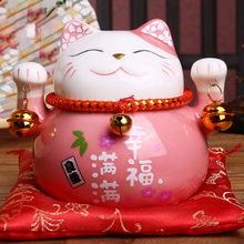 China Christmas Gifts 4.5 inch Maneki Neko Porcelain Lucky Cat Home Decor Ornaments Fortune Cat Money Box Fengshui Craft genuine fengshui pear wood carvings cattle fortune bullish money cow ornaments lucky defends transport rosewood gifts